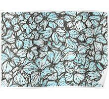 Blue Hydrangea Petals Poster