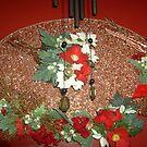 Homemade Christmas Plaquard - on sprayed polystyrene and metal weaved frame by anaisnais