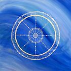 Mandala : Blue Wheel  by danita clark