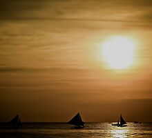 """Sailors in a beautiful sunset"" - Boracay by Michael  Habal"