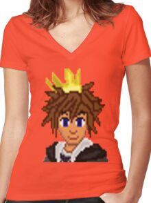 Gold Crown Hero Sora   Women's Fitted V-Neck T-Shirt