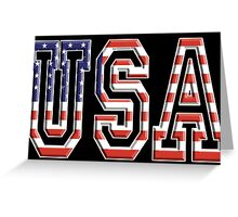 USA, Stars and Stripes, United States of America, Flag, Patriot, America, American, US, on BLACK Greeting Card