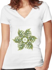 Watercolor fern wreath with white flowers Women's Fitted V-Neck T-Shirt