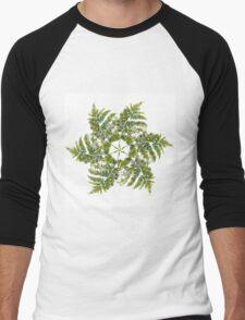 Watercolor fern wreath with white flowers Men's Baseball ¾ T-Shirt