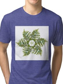 Watercolor fern wreath with white flowers Tri-blend T-Shirt