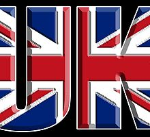 UK, Flag, Union Jack, British, United Kingdom, Blighty, on BLACK by TOM HILL - Designer