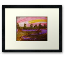 Sunset over the river, watercolor Framed Print