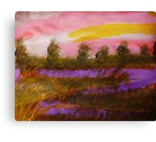 Sunset over the river, watercolor Canvas Print
