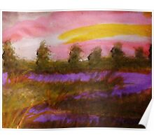 Sunset over the river, watercolor Poster