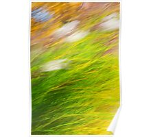 Fall Grass Colorful Nature Abstract Poster