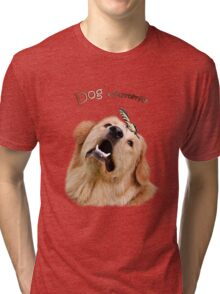 Dog and Butterfly Tri-blend T-Shirt