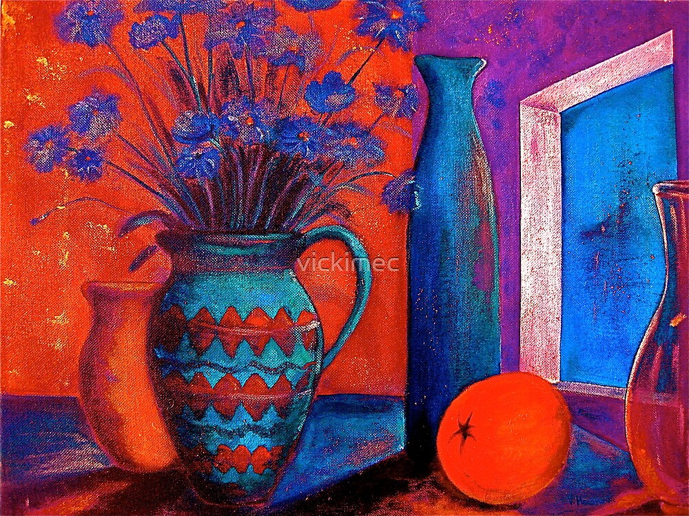 Still life with an orange by vickimec