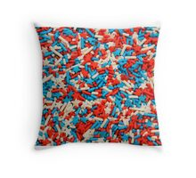 Sprinkles red blue white Throw Pillow