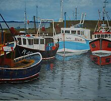 Port Seton Boats - fishing boats by Michelle Bailey
