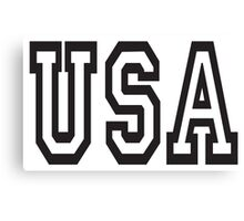 USA, United States of America, Patriot, America, American, US, BLACK on WHITE Canvas Print