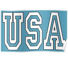 USA, Patriot, America, American, US, BLACK & WHITE on BLUE Poster
