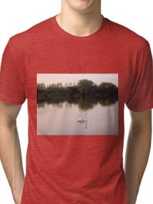 Swan on lakes in Somerset Tri-blend T-Shirt