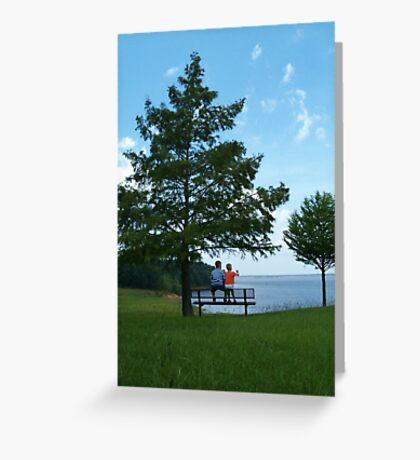 Boys on a bench by the lake Greeting Card