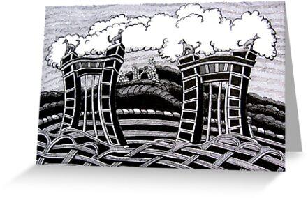 235 - ACTON HALL GATES, WREXHAM - DAVE EDWARDS - INK - 2011 by BLYTHART