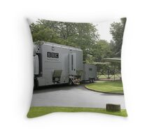 The BBC outside broadcast vehicle. Throw Pillow