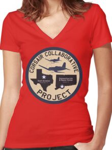 Corsair Collaborative Project Logo Women's Fitted V-Neck T-Shirt