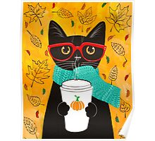 Pumpkin Coffee Cat Poster
