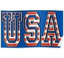 USA, Flag, Patriot, America, American, US, on Navy, Blue Poster