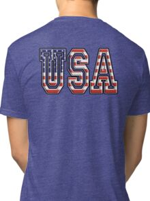 USA, United States of America, Flag, Patriot, America, American, US, on Navy, Blue Tri-blend T-Shirt