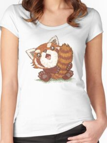 Red panda which holds a tail Women's Fitted Scoop T-Shirt