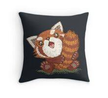 Red panda which holds a tail Throw Pillow
