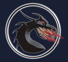 DRAGON, HEAD, Fire, Breathing, CIRCLE, SYMBOL, NAVY, BLUE Kids Clothes