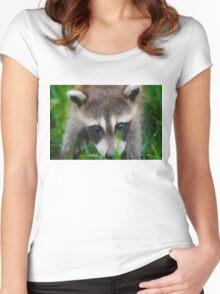 cute raccoon Women's Fitted Scoop T-Shirt