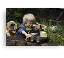 Small Child at Work Canvas Print