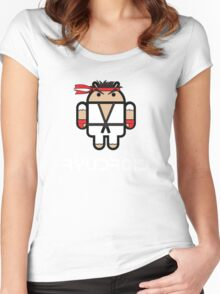 Ryu from Street Fighter goes Google Android Style Women's Fitted Scoop T-Shirt