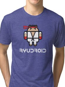 Ryu from Street Fighter goes Google Android Style Tri-blend T-Shirt