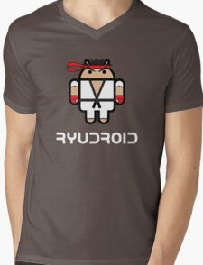Ryu from Street Fighter goes Google Android Style Mens V-Neck T-Shirt