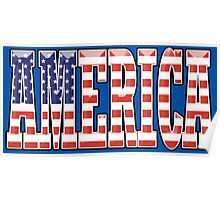 AMERICA, Stars and Stripes, AMERICAN, Patriotic Type, Patriot Type, Navy, Blue Poster