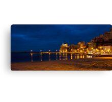 Il porto di Castellammare del Golfo di sera Canvas Print