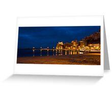 Il porto di Castellammare del Golfo di sera Greeting Card