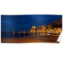 Il porto di Castellammare del Golfo di sera Poster