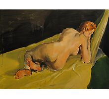 Reclining - Female on green furniture Photographic Print
