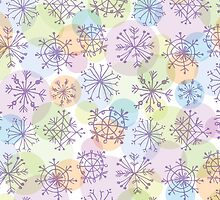 pattern with purple snowflakes on light background by EkaterinaP