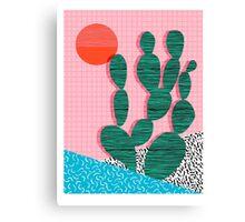 'Sup - cactus throwback retro memphis style neon art print 80s 1980s pop art desert socal  Canvas Print