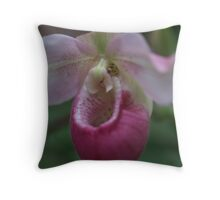 Pink Lady Slipper--horizontal Throw Pillow