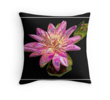 "Pink Waterlily - ""Enameled"" Special Effect Throw Pillow"