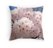 Bright Pastel Pink Spring Tree Blossom Flowers Baslee Throw Pillow