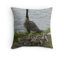 Canadian Goose with goslings Throw Pillow