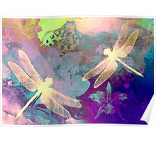 Painting Orchids & Dragonflies. Poster