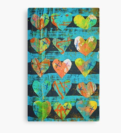 Mixed Media Hearts Canvas Print