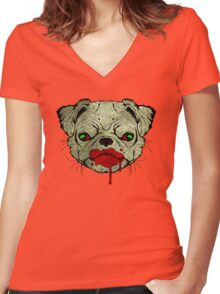 Zombie Pug! Women's Fitted V-Neck T-Shirt